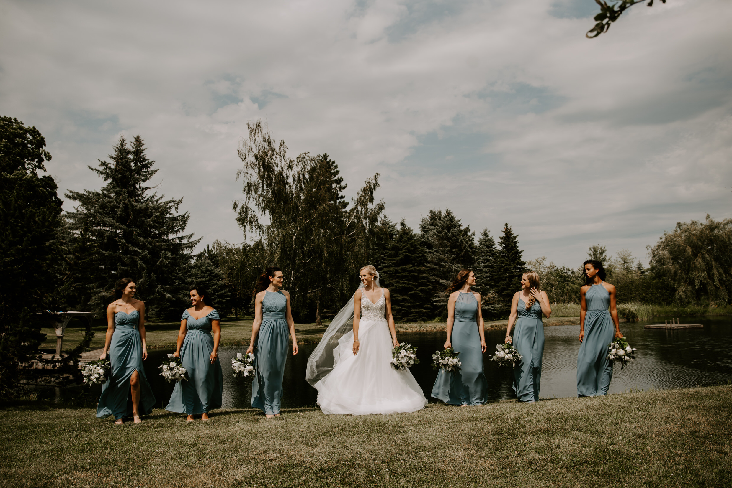 Belcroft Estates Wedding - bridal party portraits by the pond