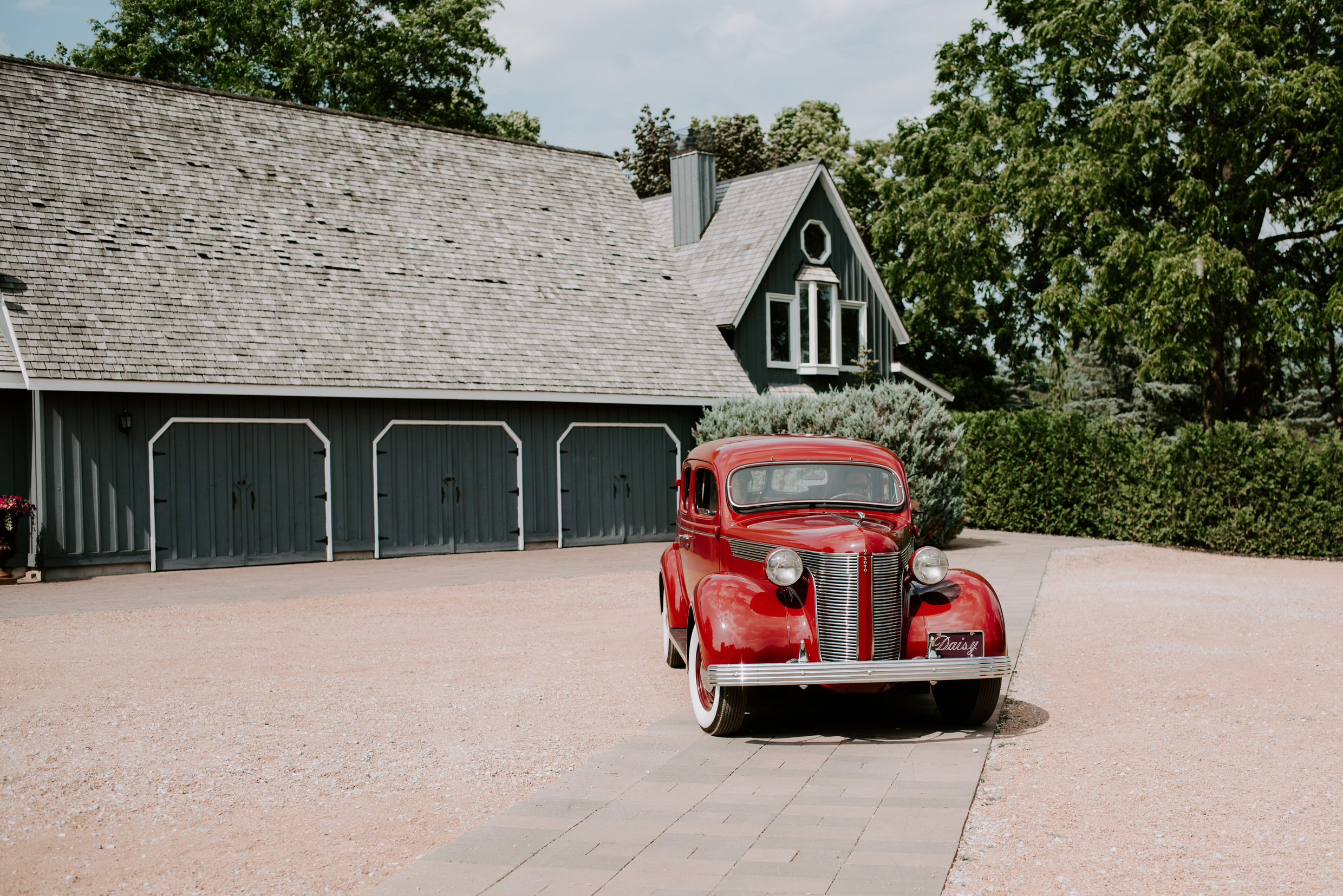 Belcroft Estates Wedding - red vintage car
