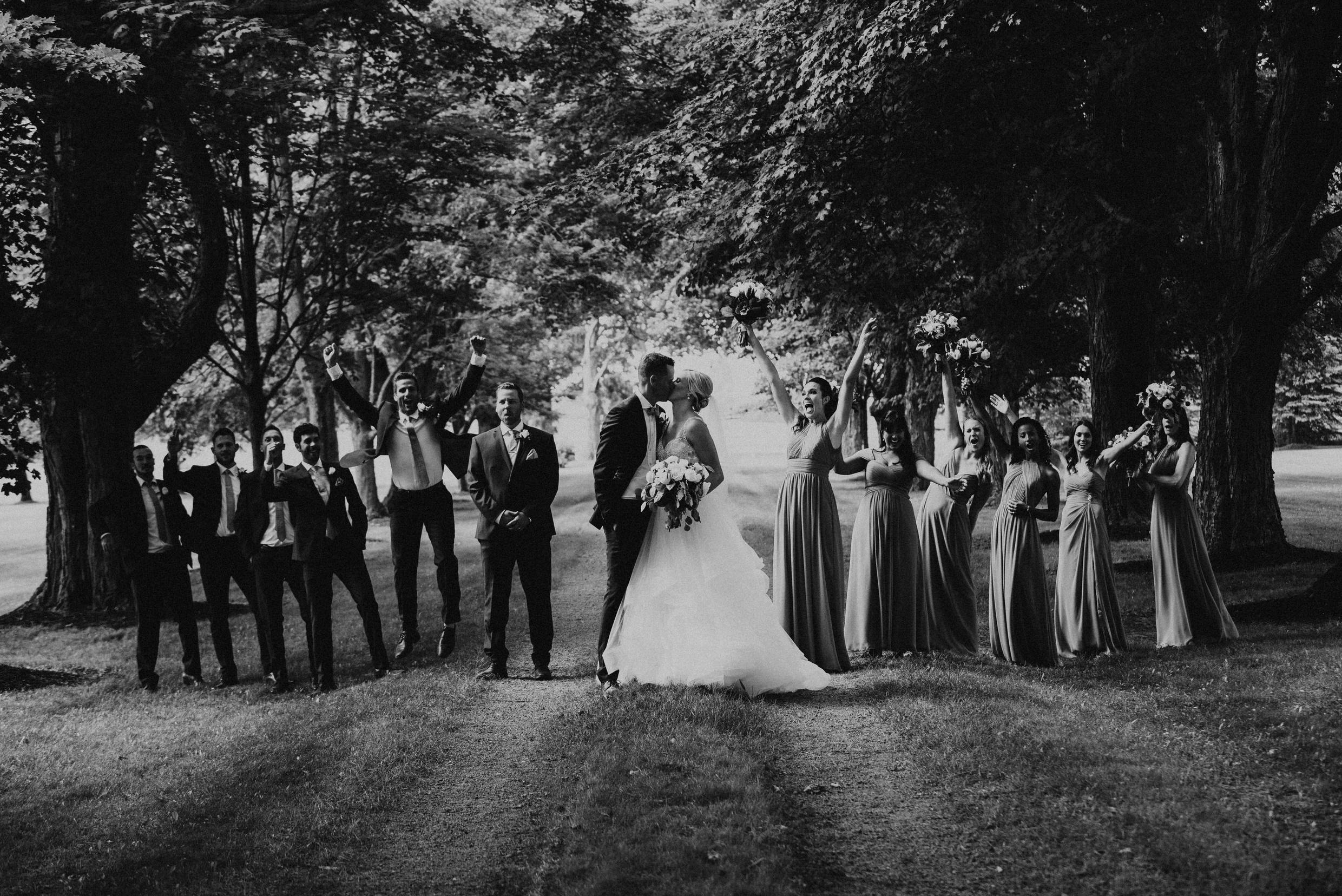 Belcroft Estates Wedding - wedding party in the woods