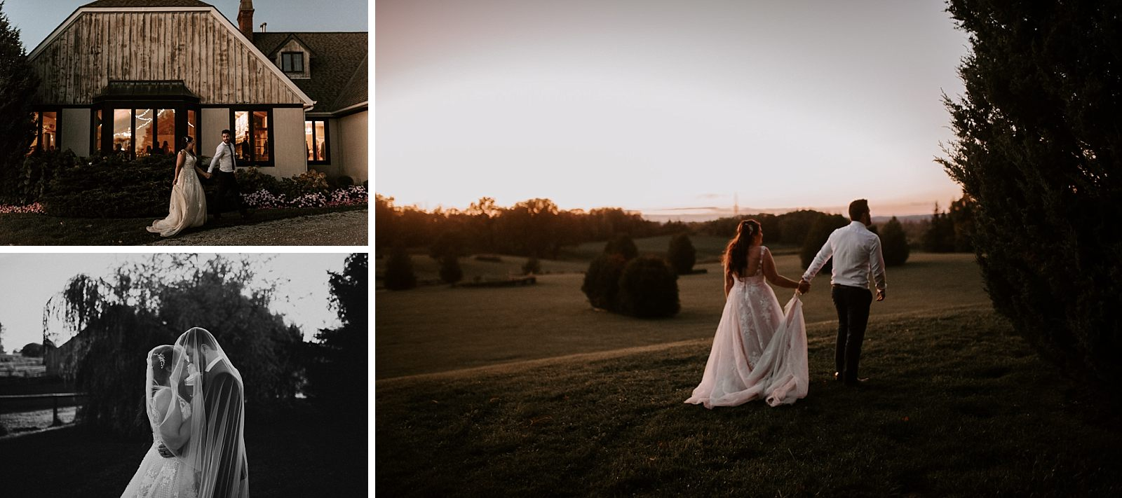 unique wedding bride and groom during sunset photos