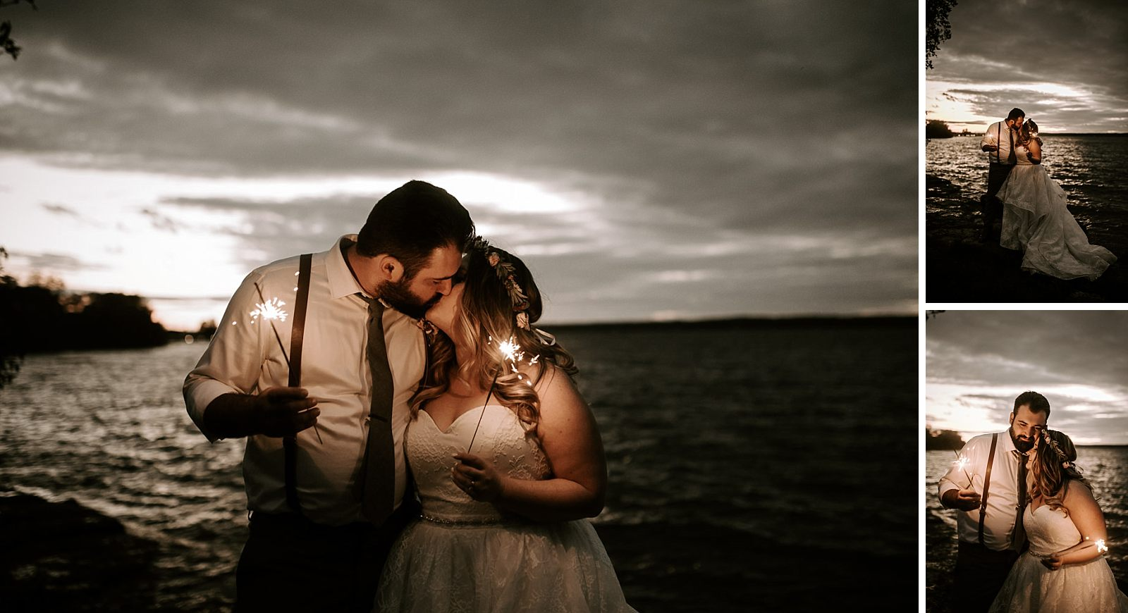 bride and groom take sunset photo's with sparklers