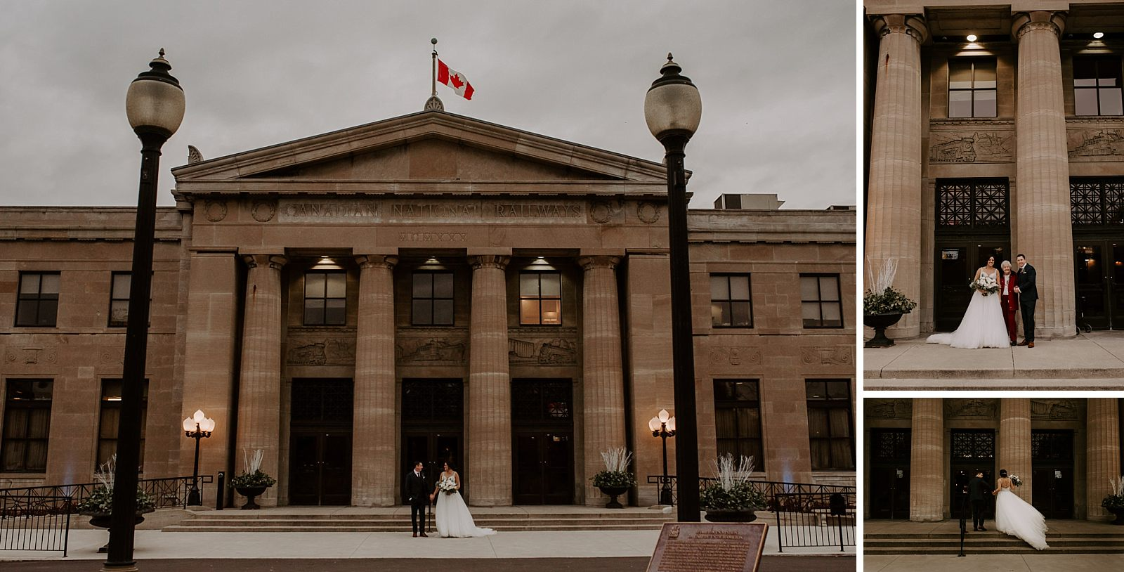 bride and groom get married at unique venue: Canadian National Railway