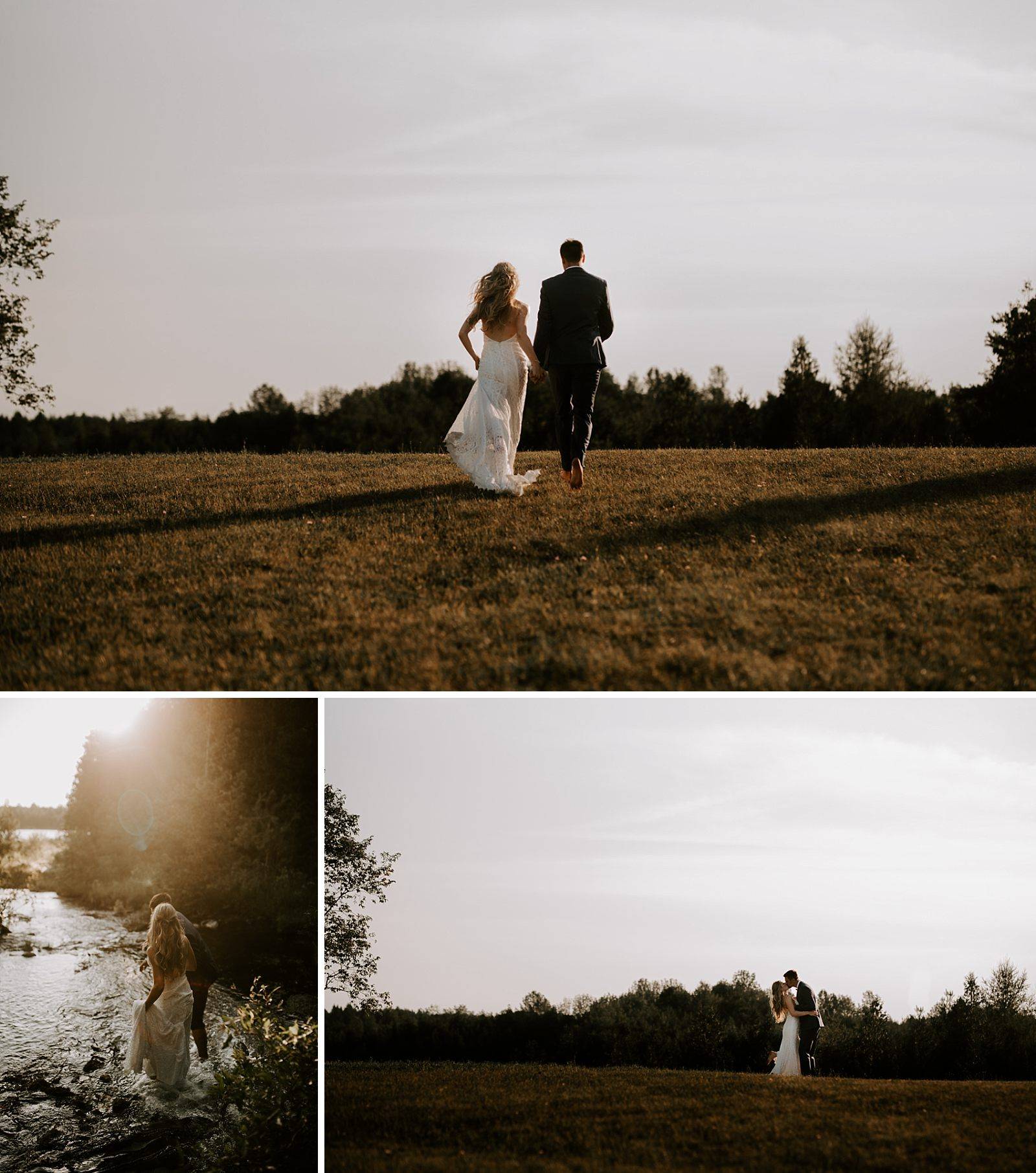 bride and groom have a unique wedding on grandfather's property during sunset